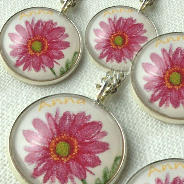 Personalised Bridesmaid Gift Art Pendant Necklace Pink Flower x 4 #mayblossoms