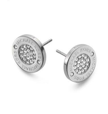 Michael Kors Pave Round Logo Stud Earrings Silver Tone 75 Mkj3352