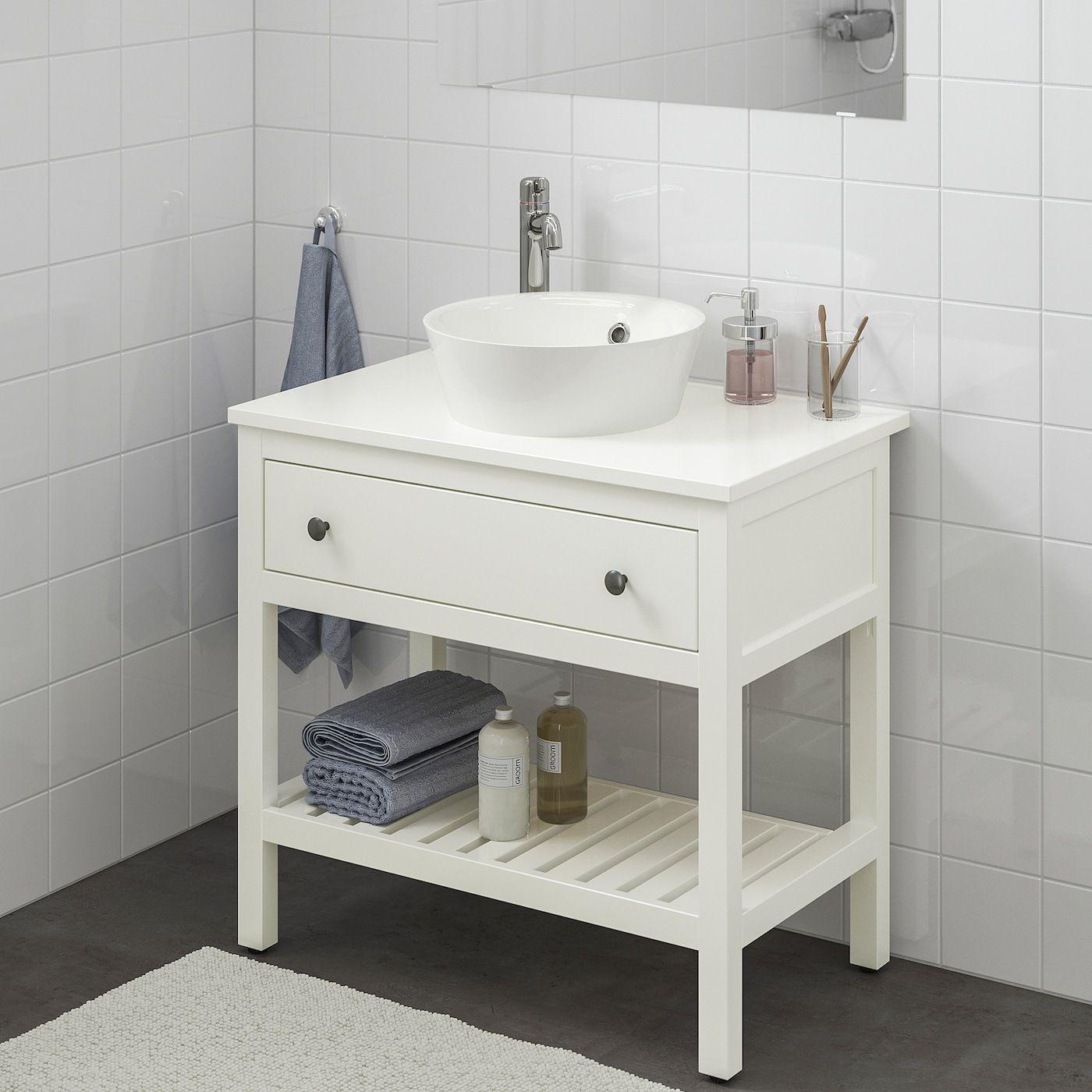 Hemnes Kattevik Open Sink Cabinet With 16 Sink White Voxnan Faucet 32 1 4x18 7 8x35 7 8 In 2020 White Vanity Bathroom Sink Cabinet Ikea Hemnes