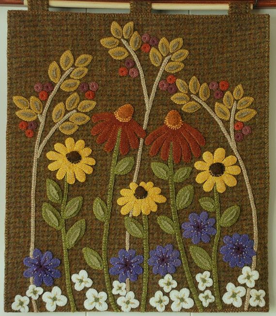 Wool Applique Kit Pattern Fall Flowers Autumn Etsy Wool Applique Kits Wool Applique Patterns Wool Quilts