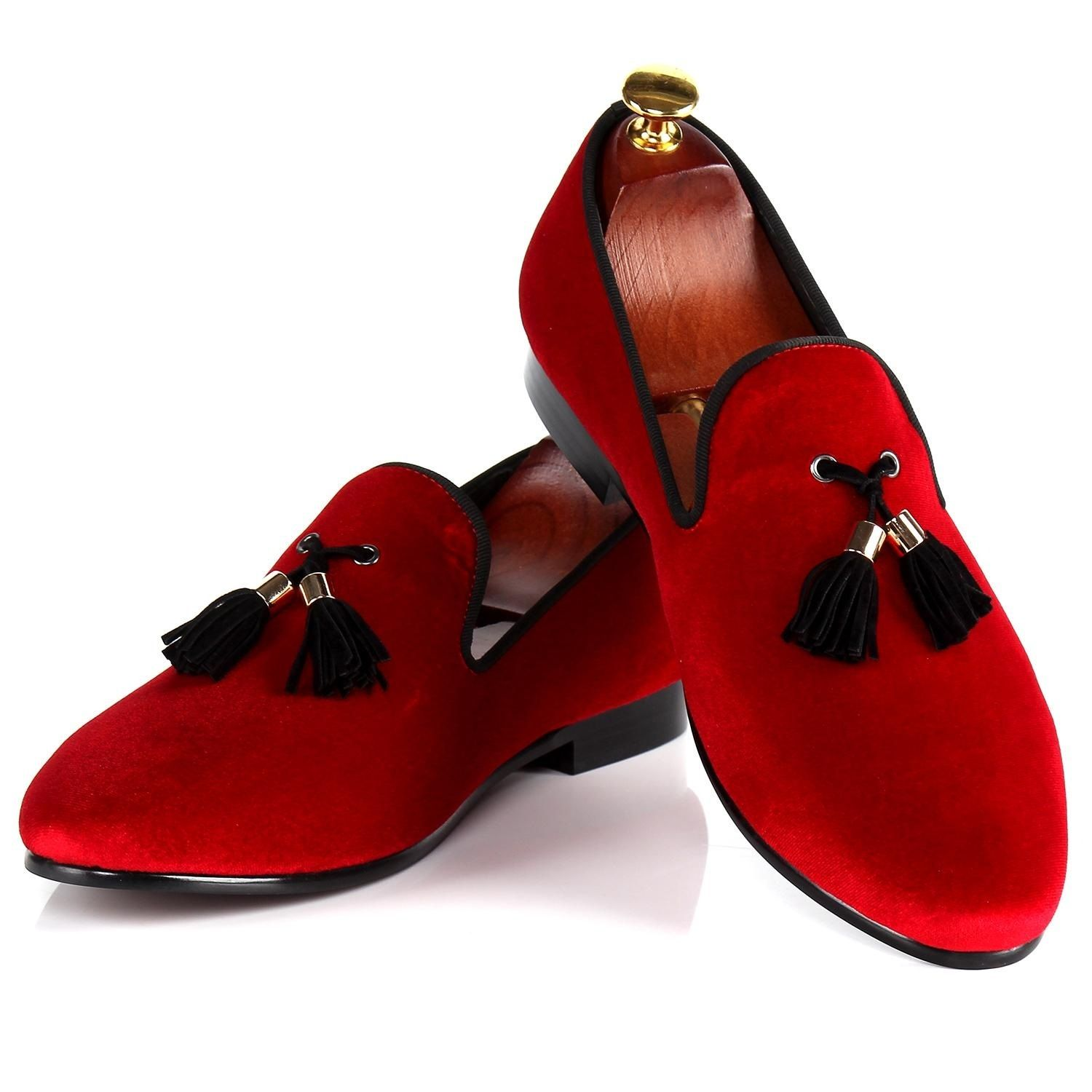 Harpelunde Italian Men Dress Shoes Buckle Strap Wedding Shoes Red Velvet Loafers  Size 7-14  ee5a5027ba17