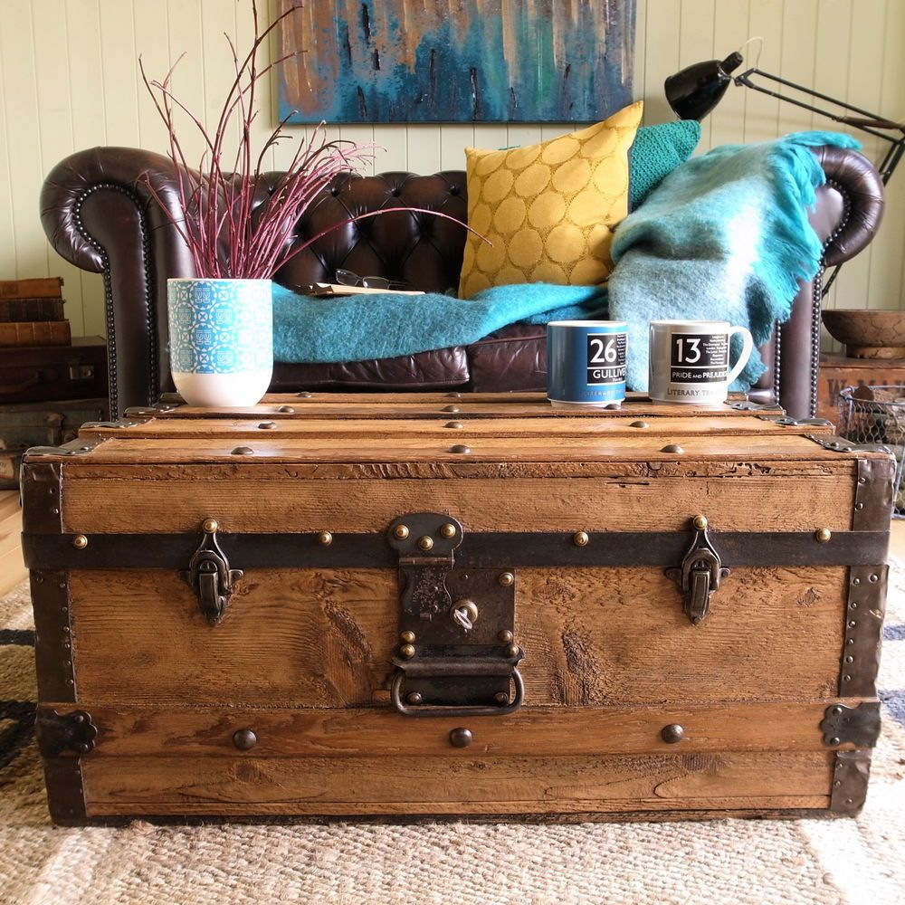 Victorian Banded Steamer Trunk Vintage Rustic Pine Storage Chest Tv Stand Table Storage Chest Vintage Trunks Tv Stand