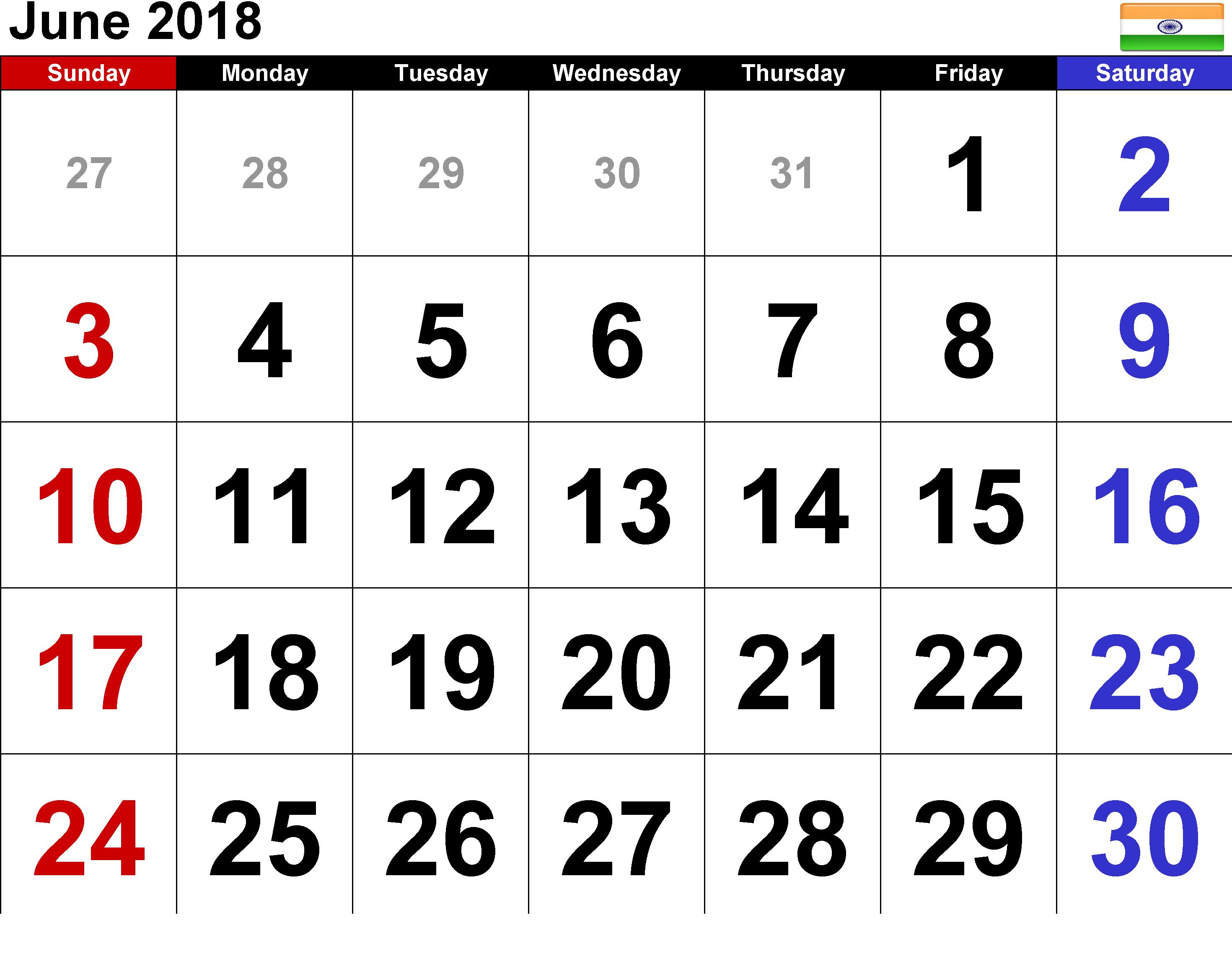 June 2018 Calendar India August Calendar Monthly Calendar Template November Calendar