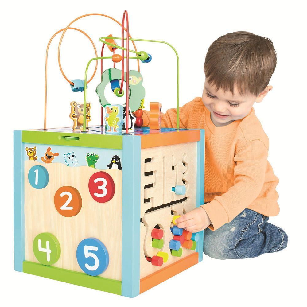 Kids Educational Wooden Toy Activity Cube Bead Toddler Baby Learning Play Center