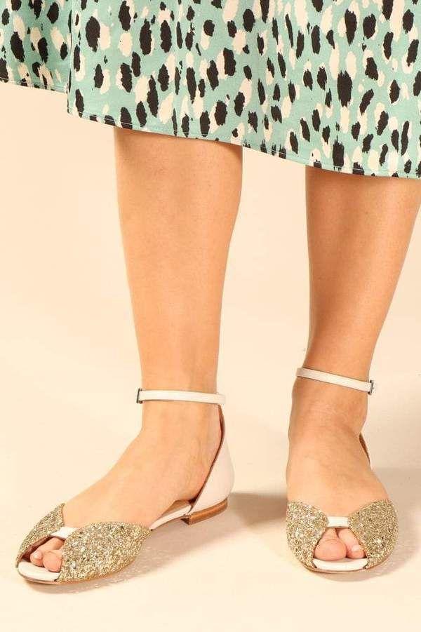 goldene flache sandalen damen