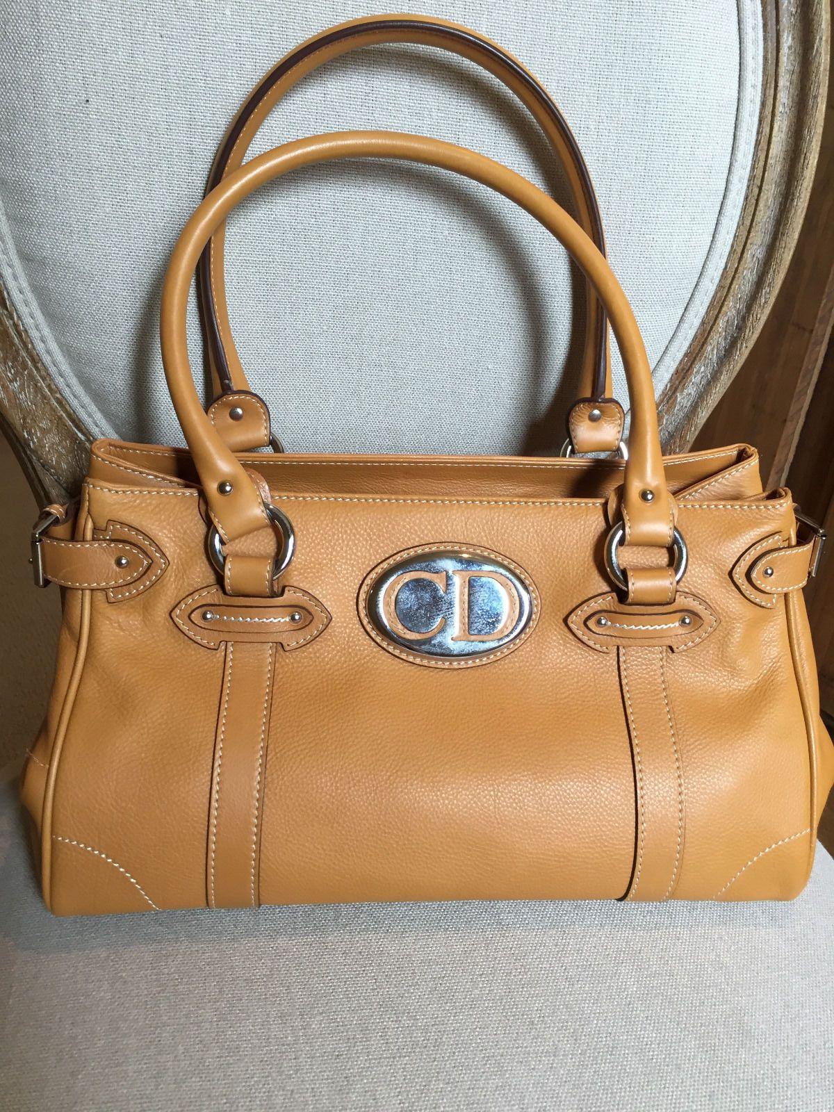 Dior Camel Leather Satchel Handbag Ebay