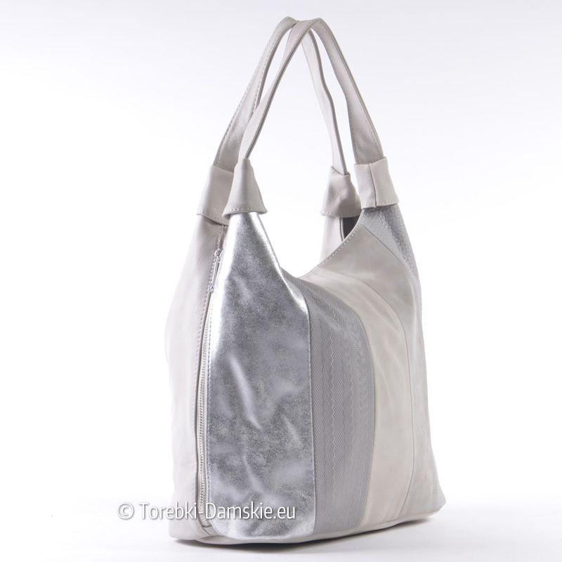 058df57742e48 Szaro - srebrna pojemna torba damska na ramię