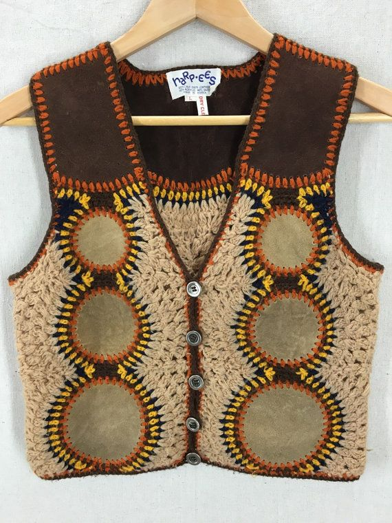 Vintage Harpees Calf Skin Leather Hippie Boho Knit Vest Size L