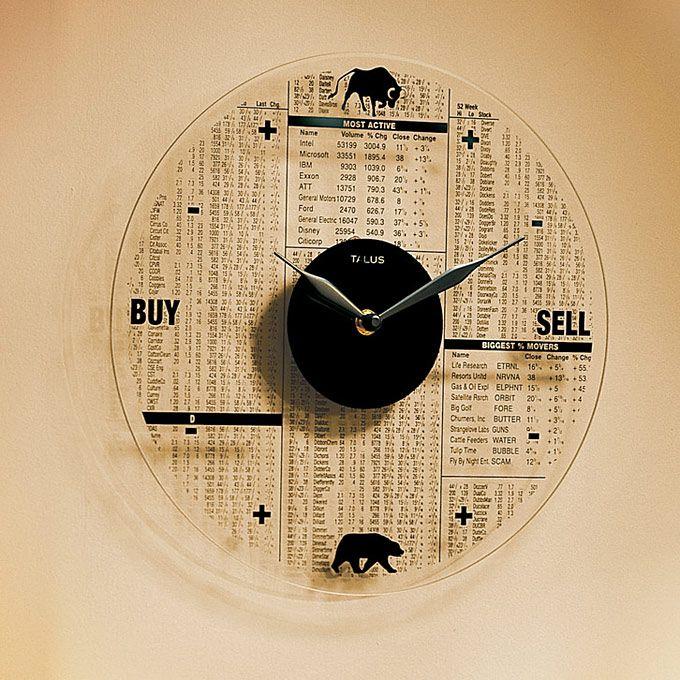 glass stock market clock