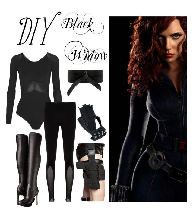 """Diy Black Widow"" by jessie-rose-i ❤ liked on Polyvore featuring Ivy Park, IRO, Sam Edelman, Wilsons Leather, halloweencostume and DIYHalloween"