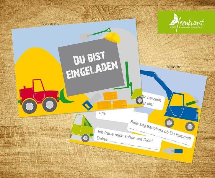 BAUSTELLEN EINLADUNGSKARTEN Bauarbeiter Einladungen Kindergeburtstag Kinder