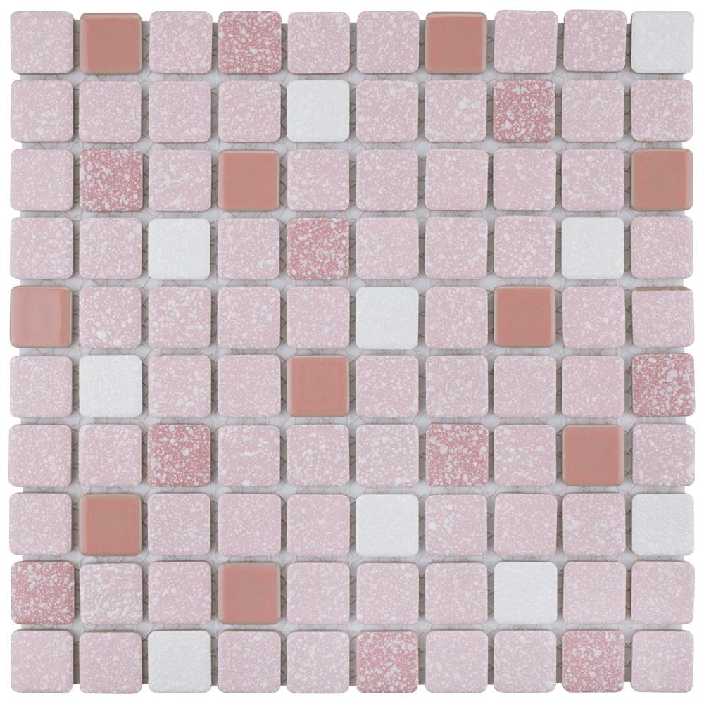 Merola Tile Crystalline Square 12 In X 12 In Pink Porcelain Mosaic Tile 9 79 Sq Ft Case Fkosrr91 The Home Depot In 2020 Mosaic Flooring Porcelain Mosaic Tile Mosaic Tiles