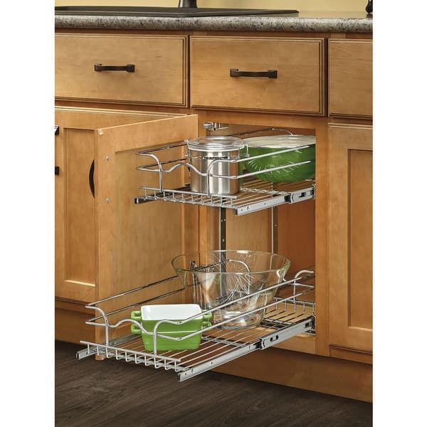 For 12 Inch Cabinet By Cooktop Rev A Shelf 18 Inch Deep 2 Tiered Wire Baskets Kitchen Renovation Rev A Shelf Base Cabinets Pull Out Drawers