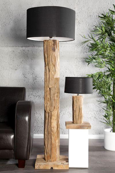Design Massivholz Tischlampe Stehlampe Roots Teakholz Lampe