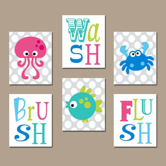 Ocean animals bathroom wall art sea animals bathroom decor canvas or prints wash brush flush kid child bathroom rules decor set of 6