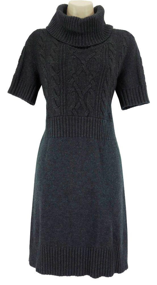 85df9f80a5 LARGE Petite SEXY Women ANN TAYLOR LOFT GRAY SWEATER DRESS Cable Knit Fall  Wool  AnnTaylorLOFT  TurtleneckCowl  Versatile
