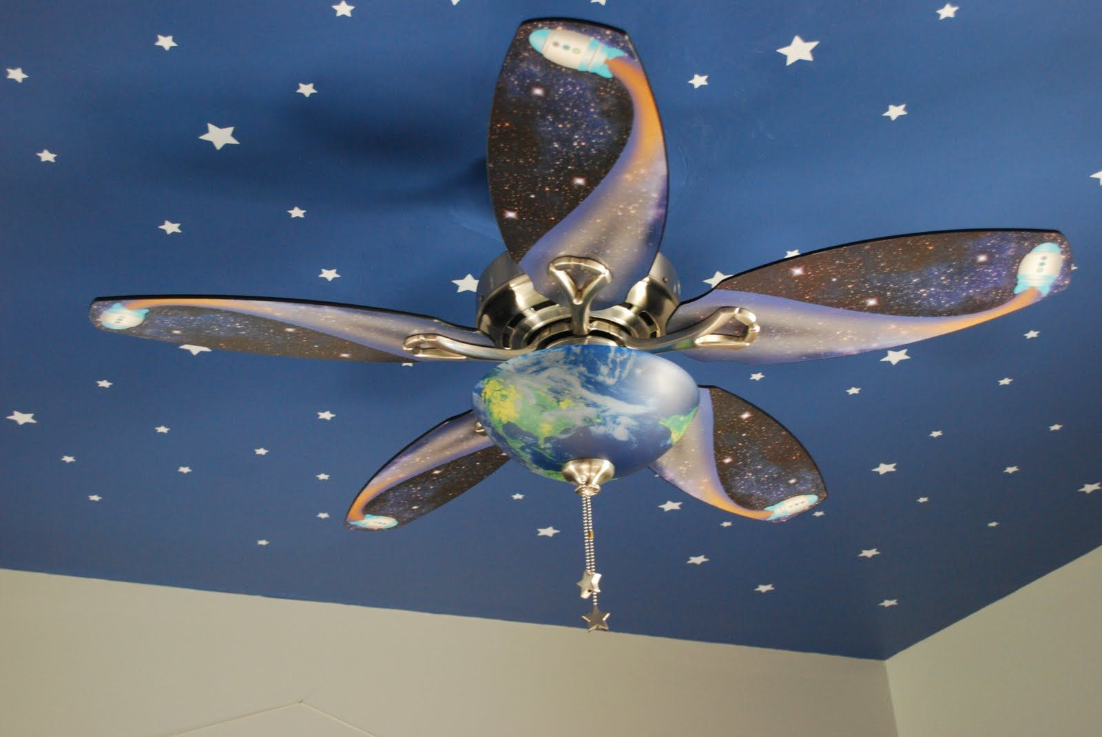 Kids bedroom ceiling lights - Night Time Themed Kids Room Fussy Monkey Business E S Space Themed Room