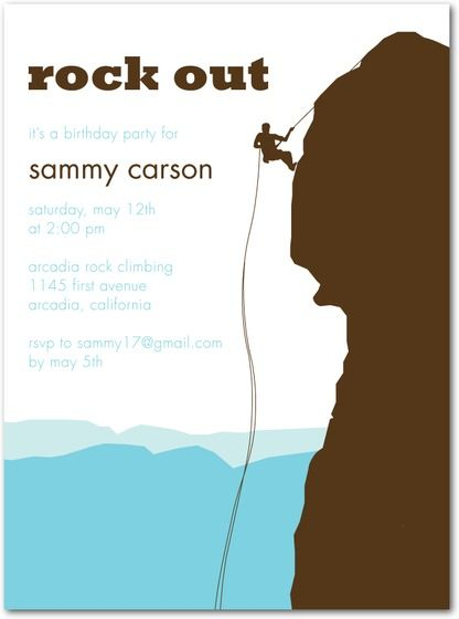 Birthday Party Invitations Rock Climbing by Tiny Prints