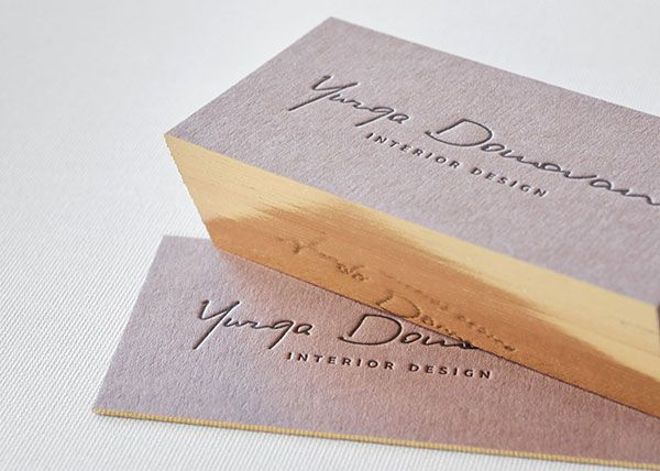 Brown business cards with single gilded edges gilded edge check out this exclusive business card for interior designer letterpress printed on thick high quality paper and finished with gold gilded edge reheart Image collections