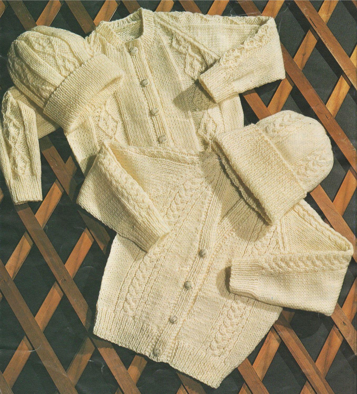 Childrens Aran Cardigan and Hat PDF Knitting Pattern : Boys or Girls ...