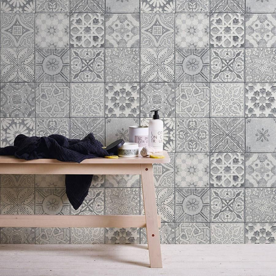 Moroccan Croatian Style Tile Effect Wallpaper Grey White Moroccan Tiles Kitchen Patterned Wall Tiles Patterned Kitchen Tiles