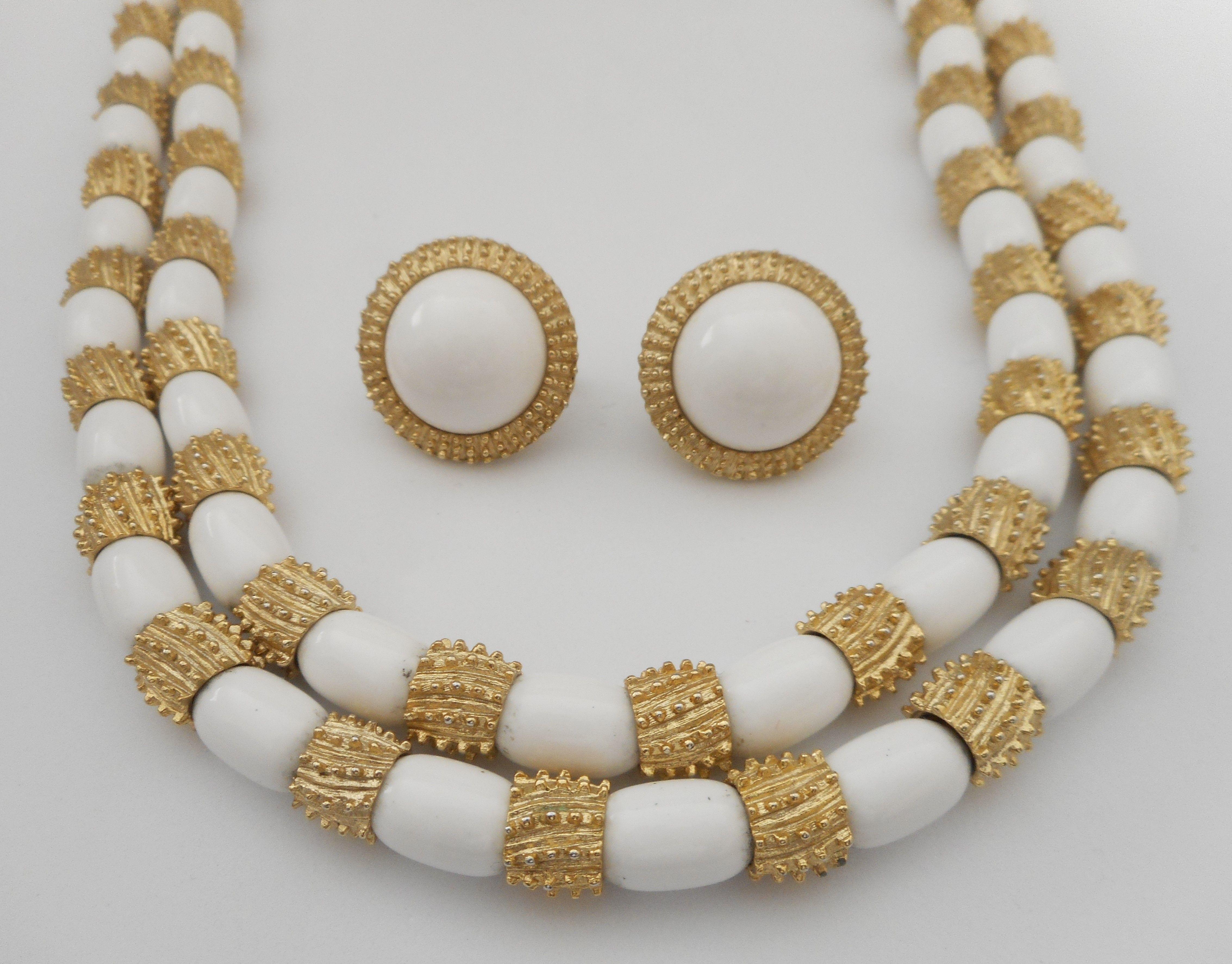 Trifari Beaded Necklace Crown Trifari White and Gold Bead Necklace Trifari White Bead Necklace