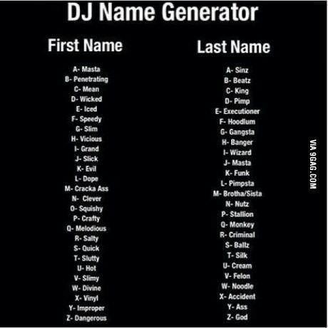 DJ NAME GENERATOR | Name generators | Name generator, Funny