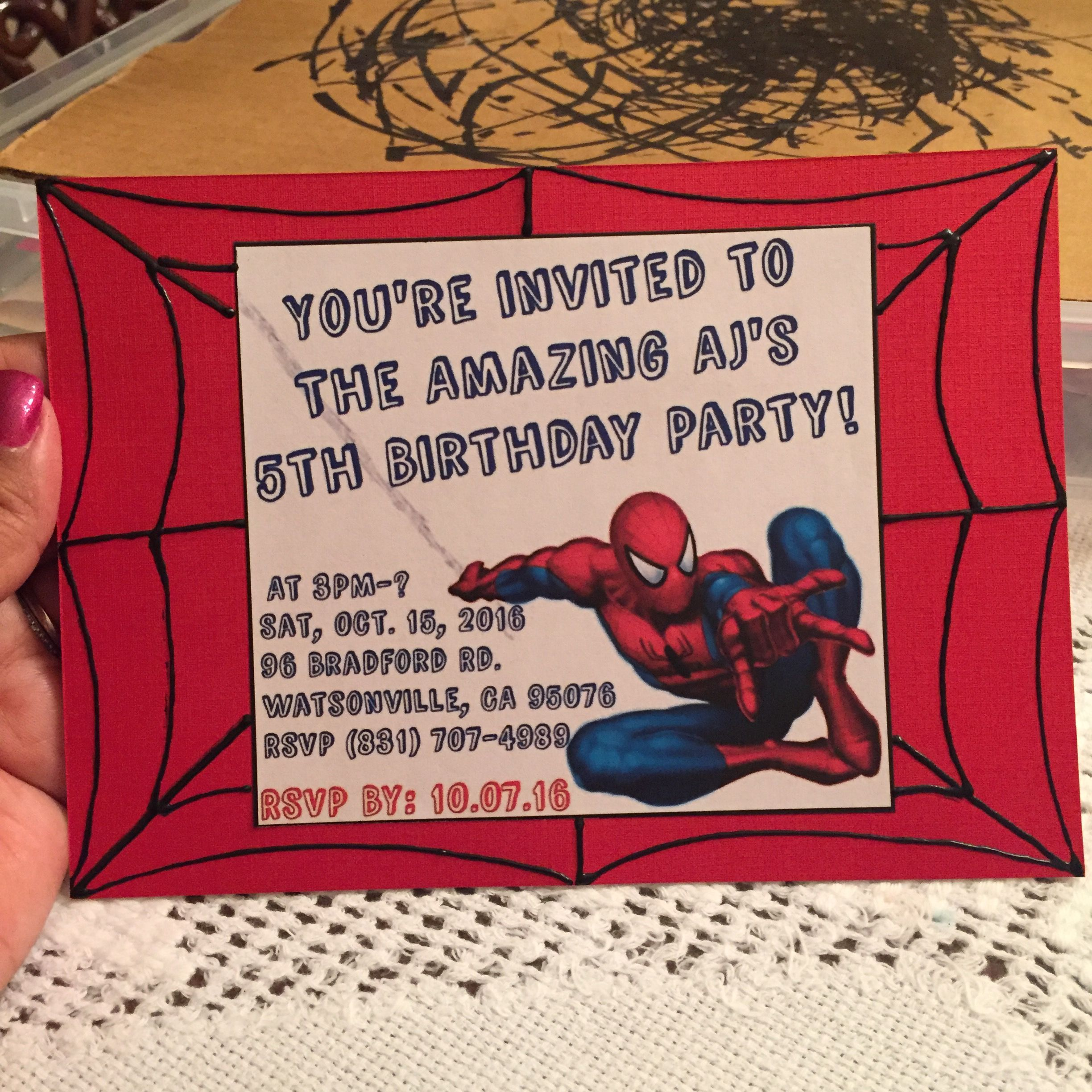 Make Your Own Spider Man Birthday Invitations