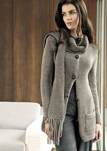 TRICO y CROCHET-madona-mía  Abrigo en tricot mujer- modelos  29a040f38cbb