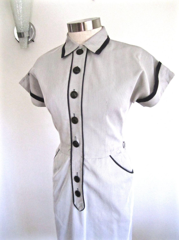 M l s dress pinstripe day dress black white button down front