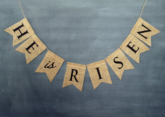 He is Risen burlap banner in black lettering, Easter, spring bunting.