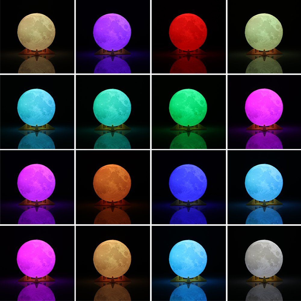 Konesky Clearance 3d Print Led Moon Lamp Rgb Lighting 16 Colors Night Light Remote And Touch Control Modes Usb C Led Night Light Rechargeable Light Night Light