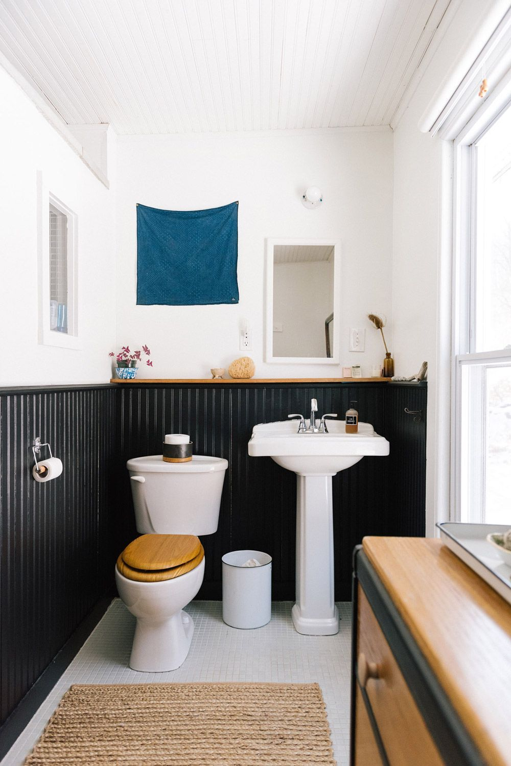 Black wainscoting in bathroom lisa przystupus upstate home