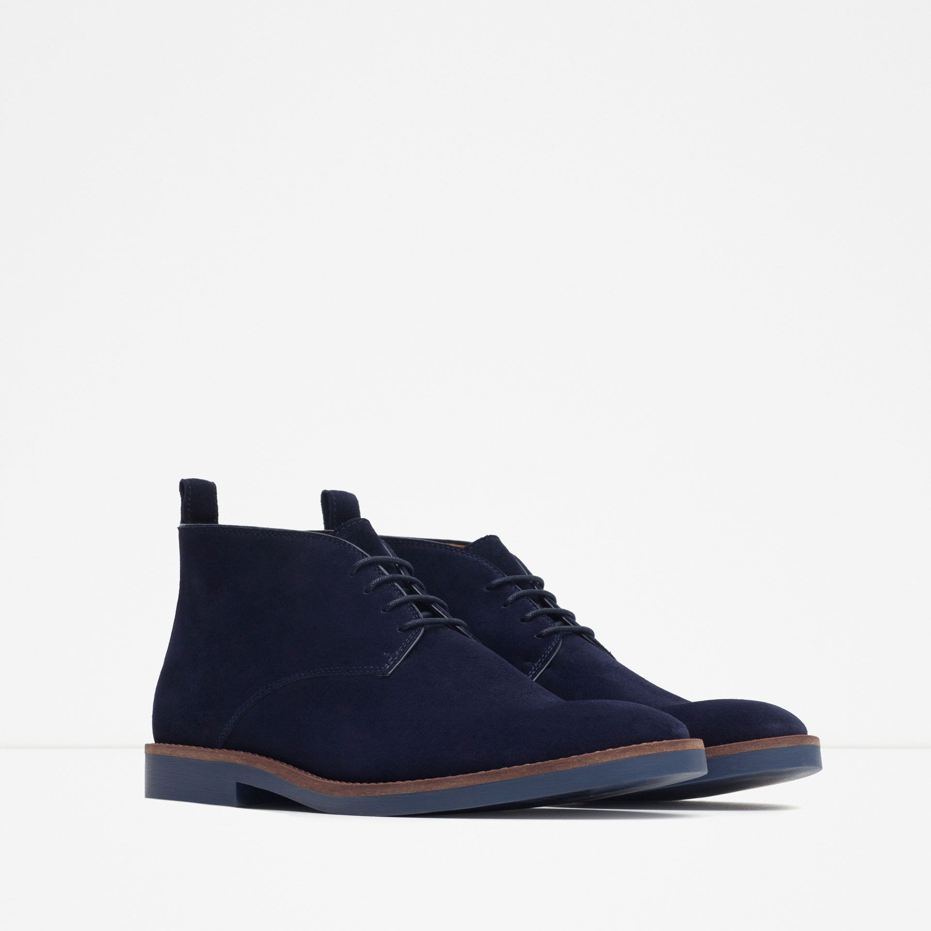 bottines en cuir style desert boots tout voir chaussures homme zara maroc pickashoe. Black Bedroom Furniture Sets. Home Design Ideas