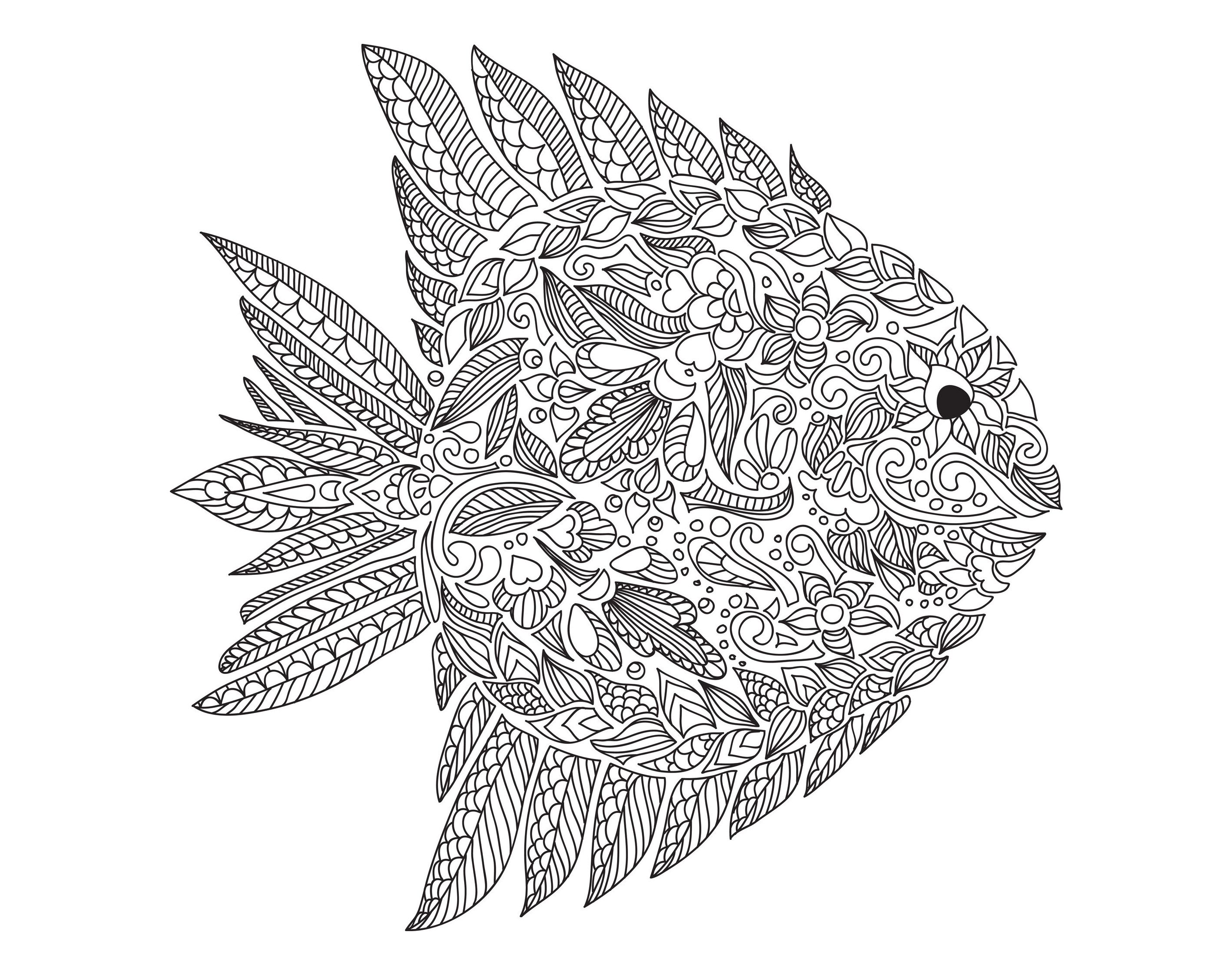 Free coloring page coloring adult zentangle fish by for Printable fish coloring pages