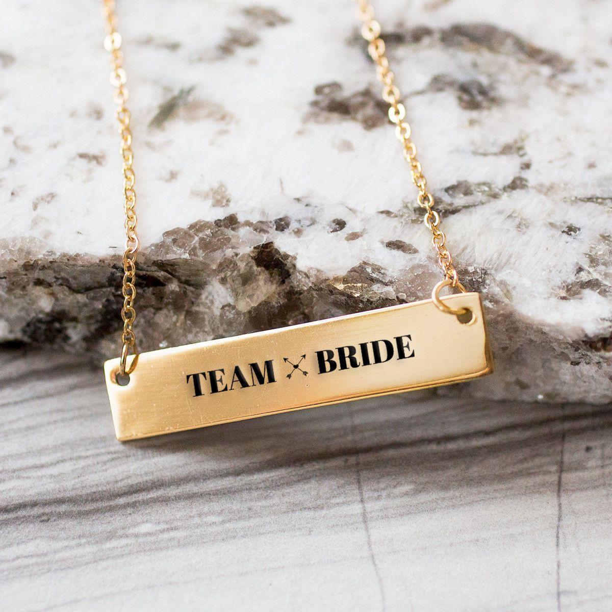 Team Bride Gold / Silver Bar Necklace