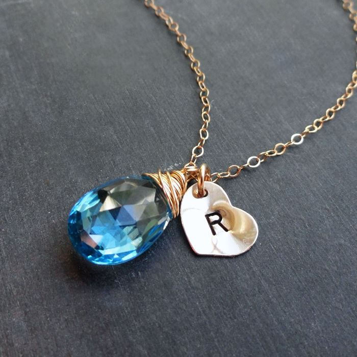 Childs birthstone initial necklace push gift pinterest initial childs birthstone initial necklace aloadofball Image collections