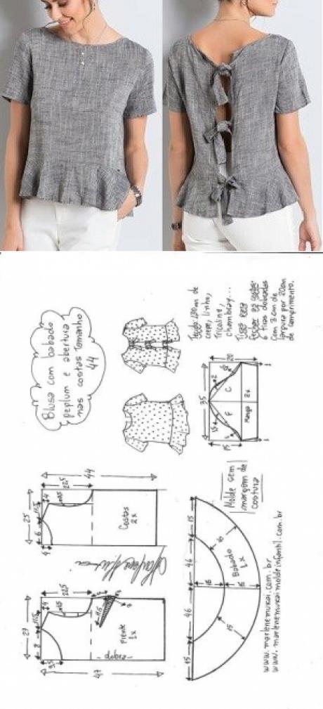 Blusa peplum com manga com abertura nas costas | DIY - molde, corte ...