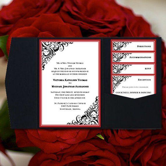 Diy Pocketfold Wedding Invitations Brooklyn Red Black