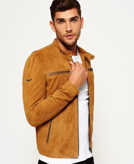 Superdry Veste de motard en daim Real Hero Marron   Superdry f867192b4d0