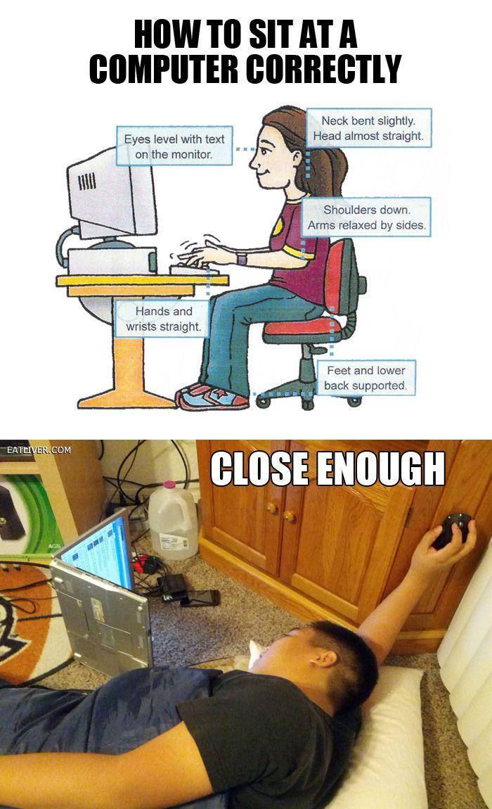 Sentarse correctamente frente a la PC