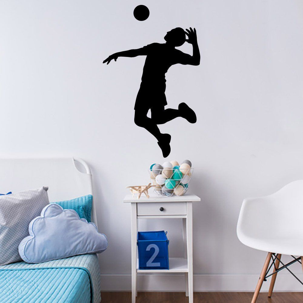 Volleyball Wall Sticker Decal Male Player Hitter Silhouette Decoration 5 Wall Stickers Vinyl Decor Living Room Murals
