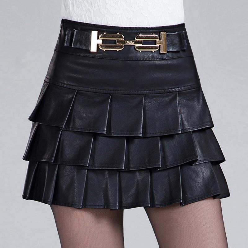 Sexy Skirts Women Spring Autumn PU Leather Skirt Vintage Tutu Skirt Black Leather Short Mini Pleated Skirt