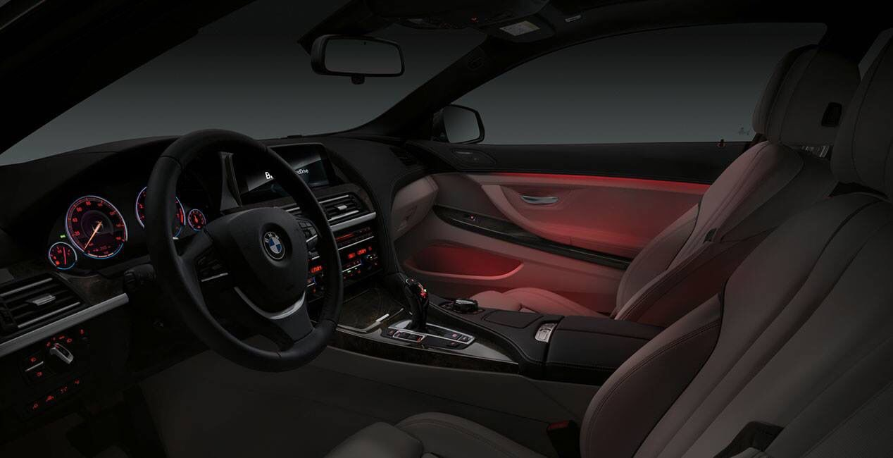 Welcome To A Cabin That Radiates Savvy Sophistication Bmw 6 Series Gran Coupe S Ambient Lighting Illuminates A Warm Glow That Runs From Bmw 6 Series Bmw Coupe