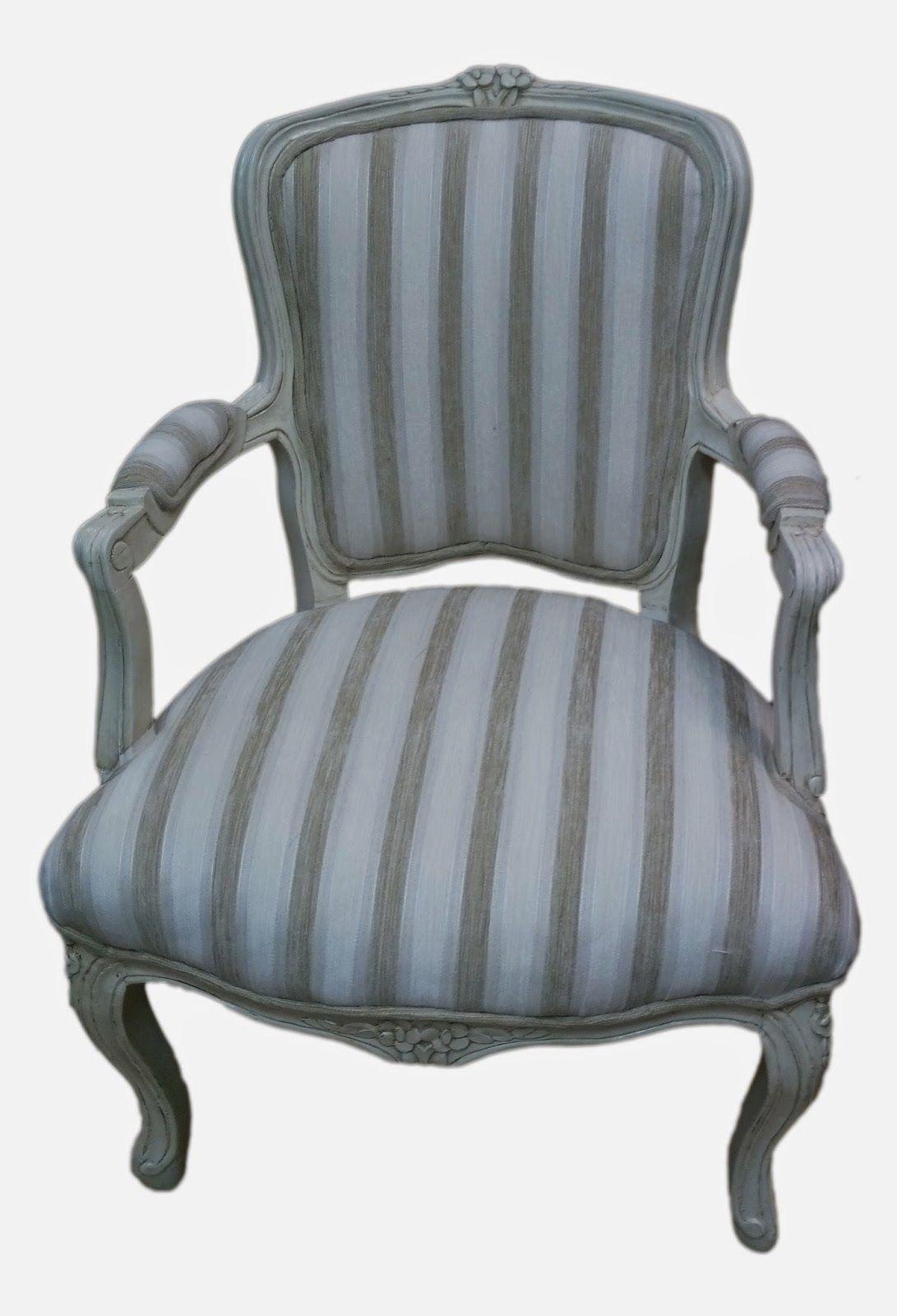 Sillón Francés Luis Plata Negro Raya Shabby Chic Antiguo Dormitorio Salón silla