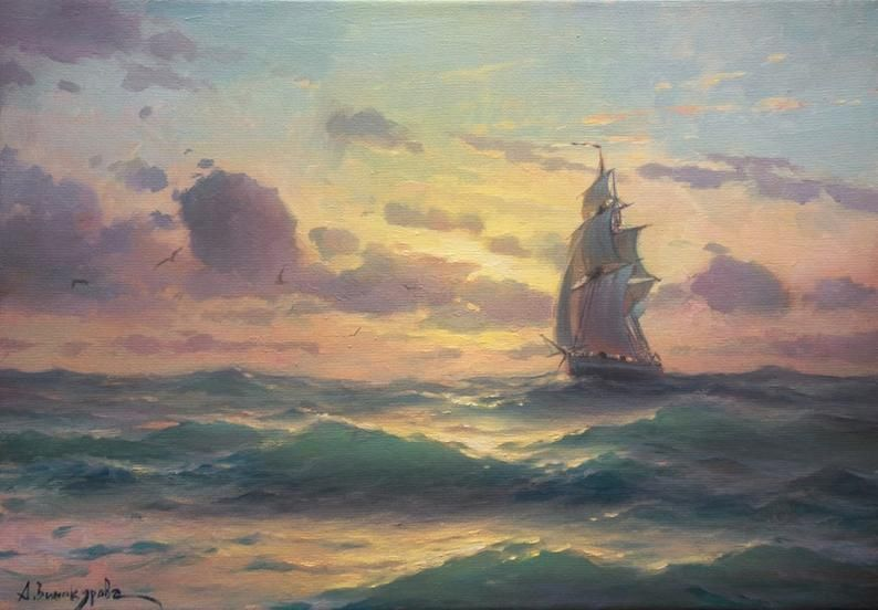 Fair Wind Canvas Painting Ship At Sea Art Stormy Sea Etsy In 2020 Seascape Paintings Sea Painting Ocean Wall Art