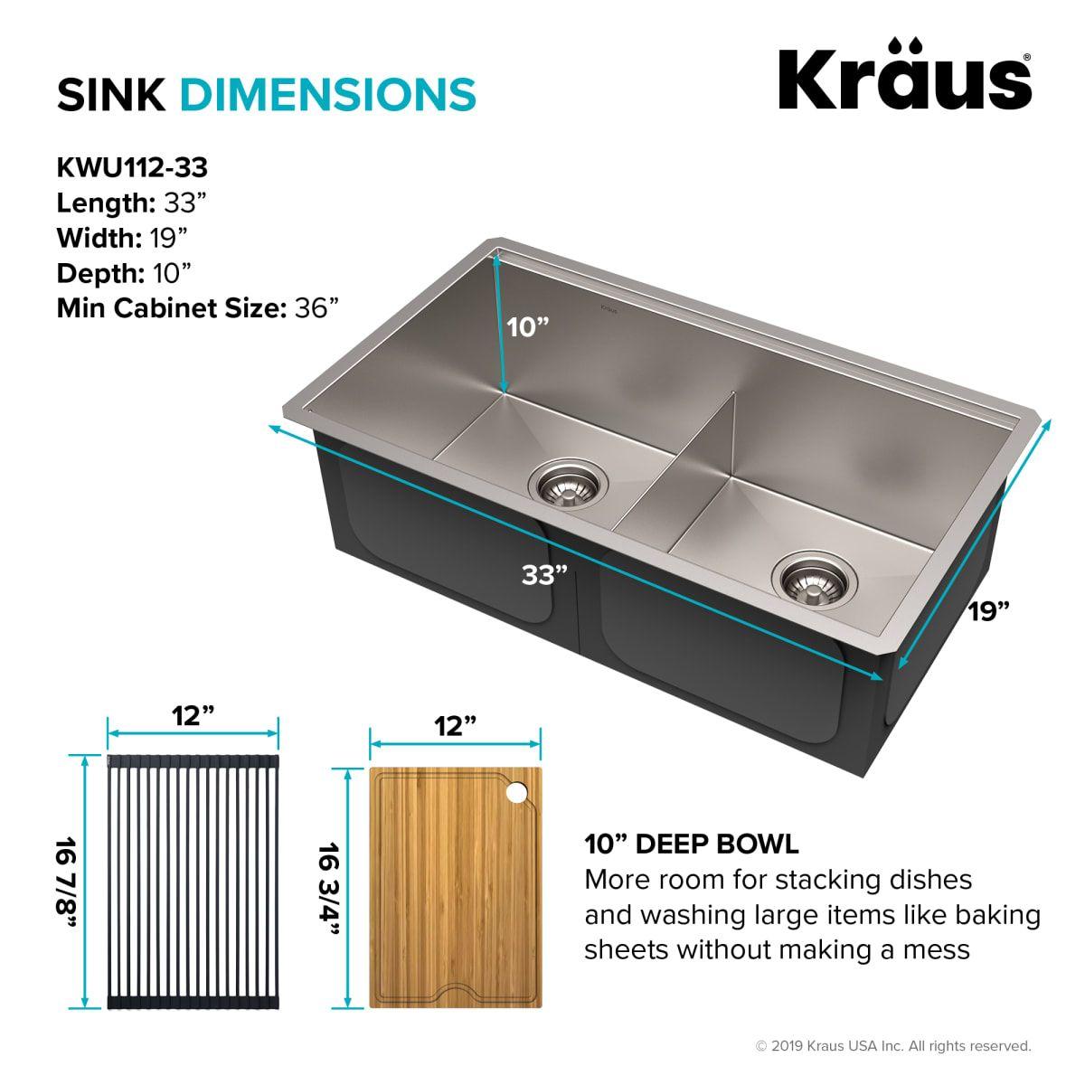 Kraus Kwu112 33 Sink Stainless Steel Bowl Sink