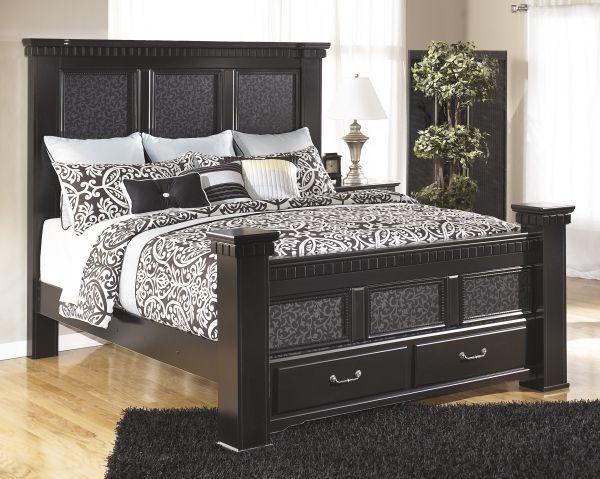 Cavallino Traditional Black Wood King Drawer Storage Bed King Size Bedroom Sets Ashley Furniture King Bedroom Sets
