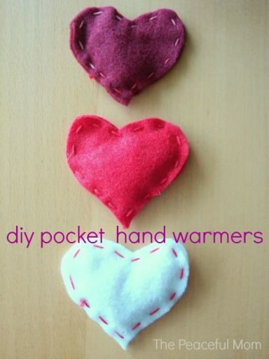 Valentine Craft: DIY Pocket Hand Warmers from The Peaceful Mom - cute Valentine's Day gift idea!