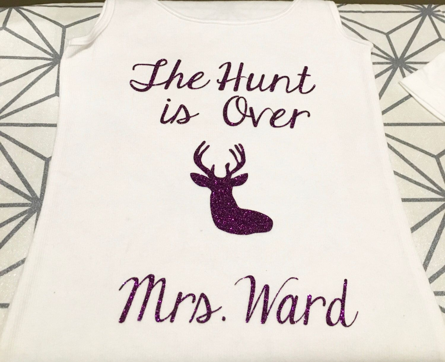 Personalized The Hunt is Over Tank Top or Waffle Robe, Wedding ...